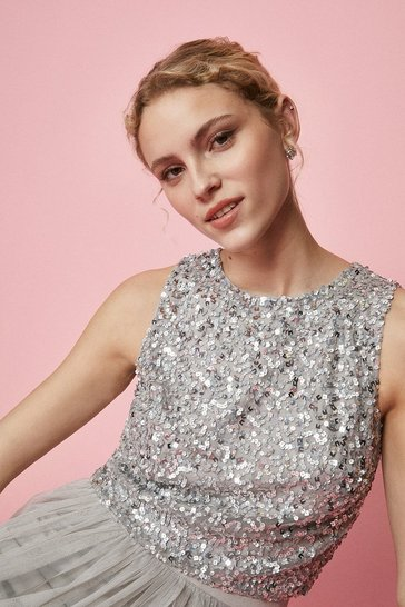 Silver All Over Sequin Cropped Top