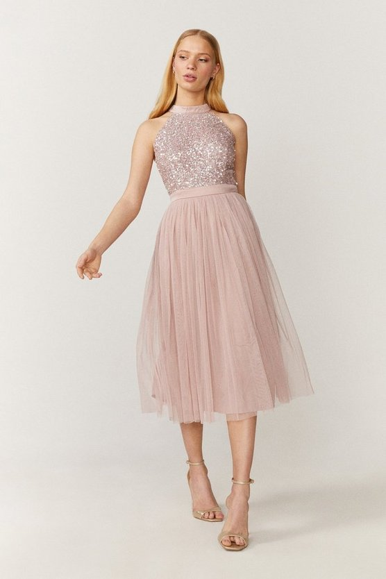 Blush Sequin Bodice Halter Midi Dress