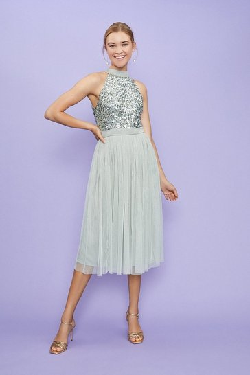 Sage Sequin Bodice Halter Midi Dress