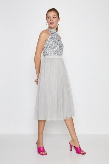 Silver Sequin Bodice Halter Midi Dress
