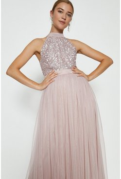 Blush Sequin Bodice Halter Maxi Dress