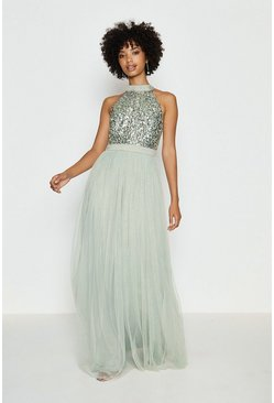 Sage Sequin Bodice Halter Maxi Dress