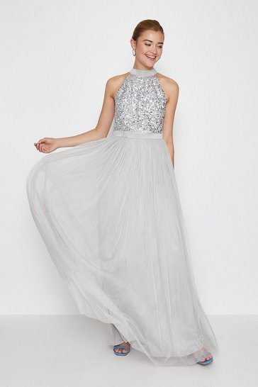Silver Sequin Bodice Halter Maxi Dress