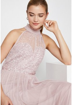 Blush High Neck Sequin Mesh Maxi Dress