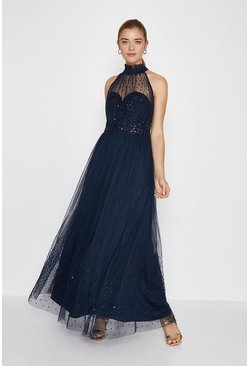 Navy High Neck Sequin Mesh Maxi Dress