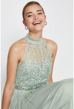 Sage High Neck Sequin Mesh Maxi Dress