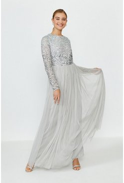 Silver Sequin Ombre Maxi Dress