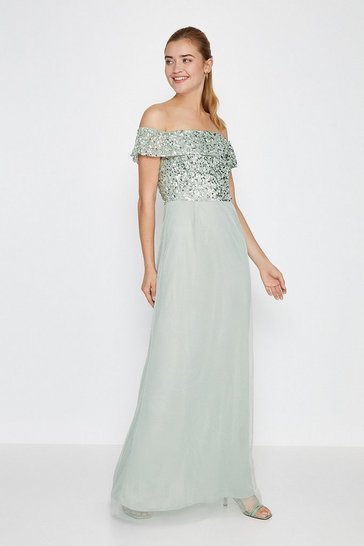 Sage Bardot Sequin Maxi Dress