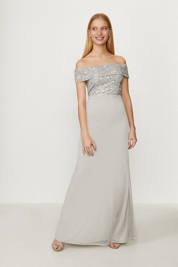 Silver Bardot Sequin Maxi Dress