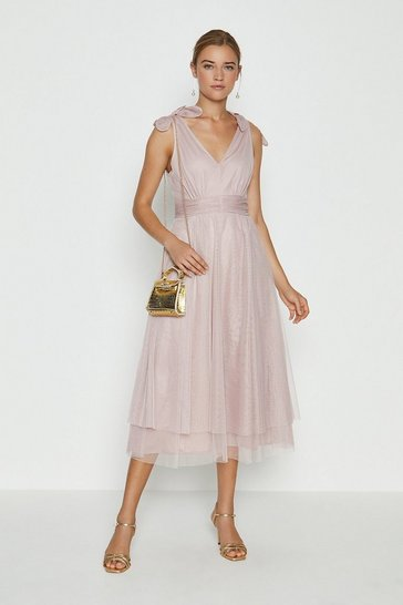 Blush Bow Shoulder Mesh Midi Dress