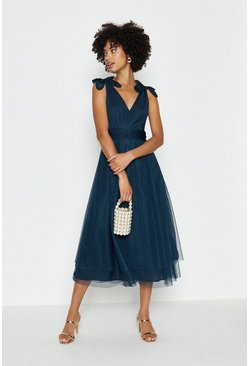 Navy Bow Shoulder Mesh Midi Dress