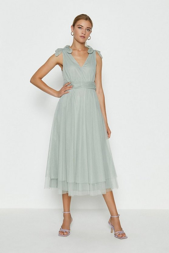 Sage Bow Shoulder Mesh Midi Dress