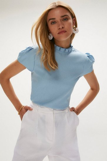 Blue Short Sleeve Frill Neck Top