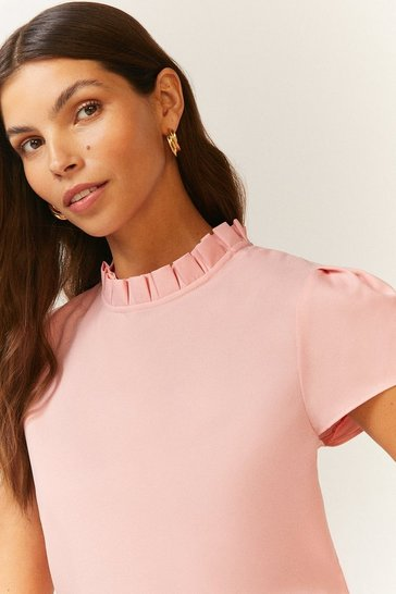 Blush Short Sleeve Frill Neck Top