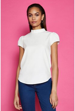 Ivory Short Sleeve Frill Neck Top