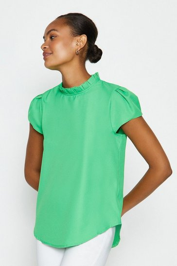 Jade Short Sleeve Frill Neck Top