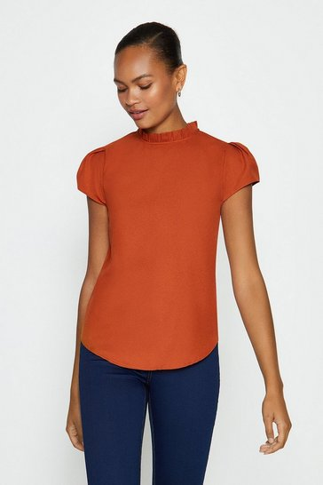 Rust Short Sleeve Frill Neck Top