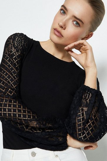Black Jersey Body Insert Lace Sleeve Top