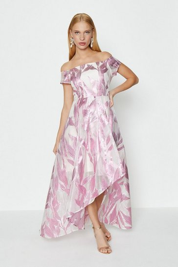 Pink Leaf Jacquard Maxi Dress