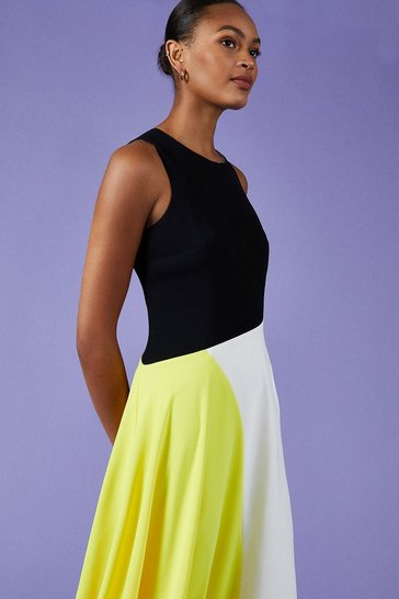 Yellow Colour Block Midi Dress