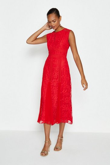 Red Embroidered Godet Midi Dress