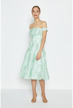Mint Bardot Full Midi Dress