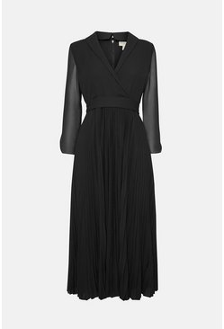 Black Long Sleeved Drape Detail Knee Length Dress