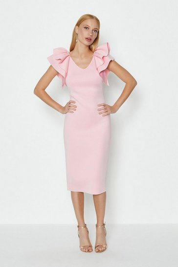 Blush Ruffle Shoulder Short Dress