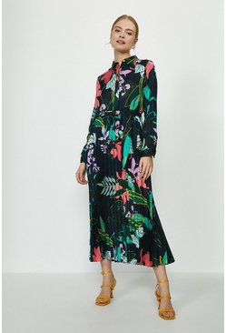 Floral Pleated Skirt Shirt Dress