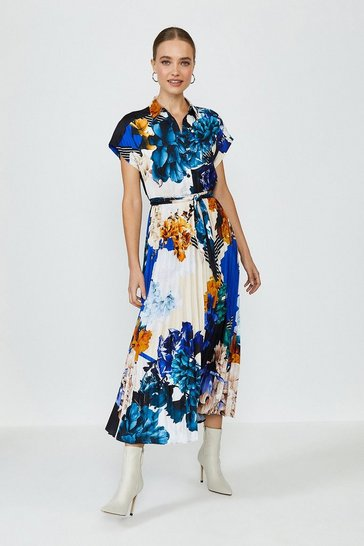 Short Sleeve Floral Print Shirt Dress