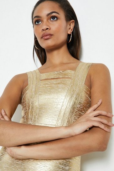 Gold Sleeveless Metallic Bandage Knit Dress