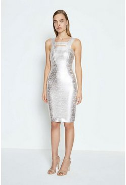 Silver Sleeveless Metallic Bandage Knit Dress