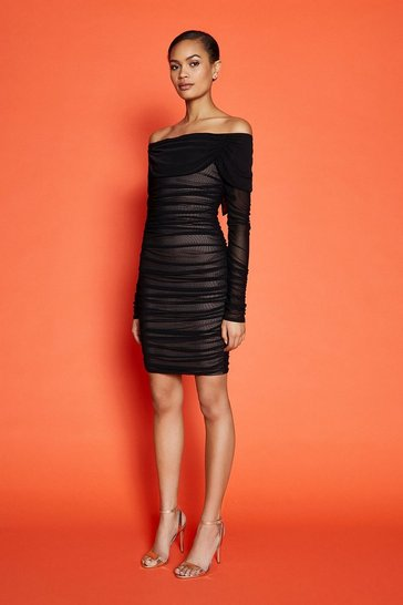 Black Long Sleeve Mesh Bandage Short Dress
