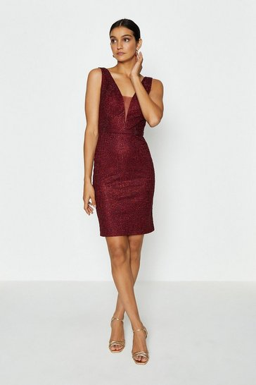 Merlot Embroidered Diamante Mini Dress