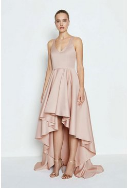 Blush Satin High Low Maxi Dress