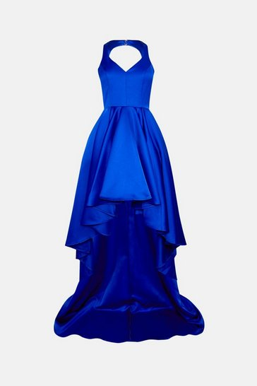 Cobalt Satin High Low Maxi Dress