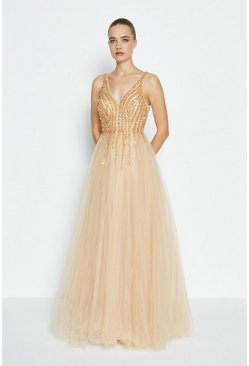 Gold Sequin Bodice Tulle Skirt Maxi Dress