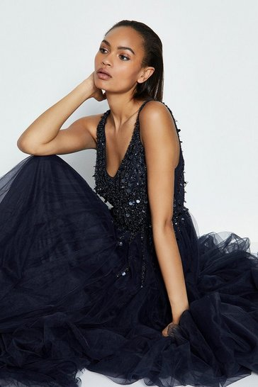 Navy Sequin Bodice Tulle Skirt Maxi Dress