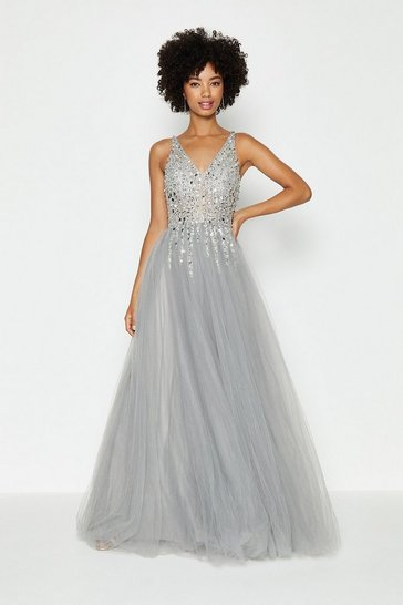 Silver Sequin Bodice Tulle Skirt Maxi Dress