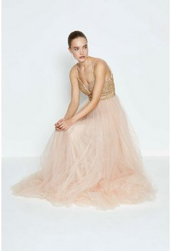 Champagne Jewelled Bodice Maxi Dress