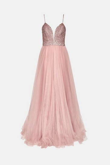 Pink Jewelled Bodice Maxi Dress