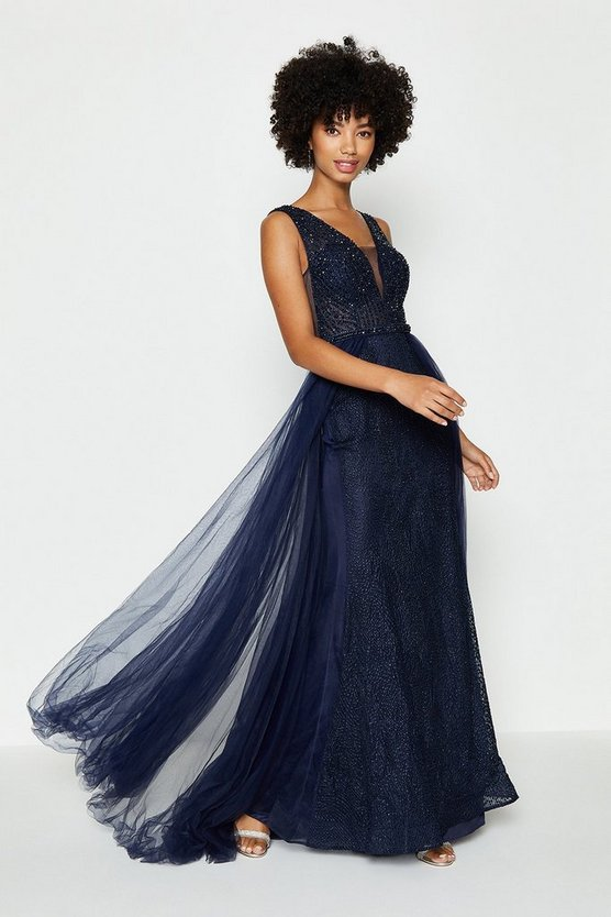 Navy Tulle Overskirt Maxi Dress