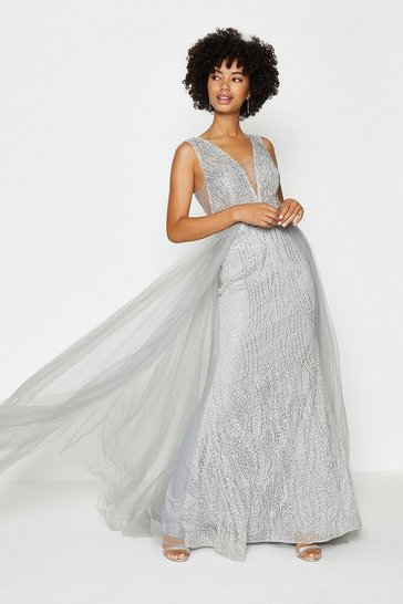Silver Tulle Overskirt Maxi Dress