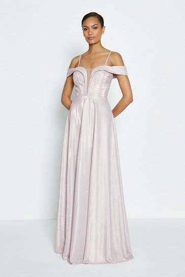 Pink Bardot Beaded Bodice Maxi Dress