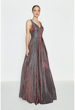 Merlot Hotfix Back Maxi Dress