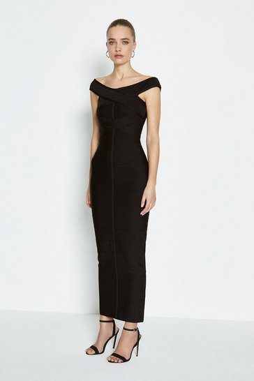 Black Bardot Knit Bandage Maxi Dress