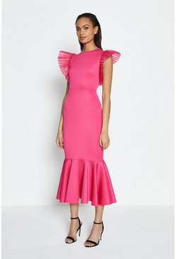 Fushia Organza Pleat Shoulder Dress