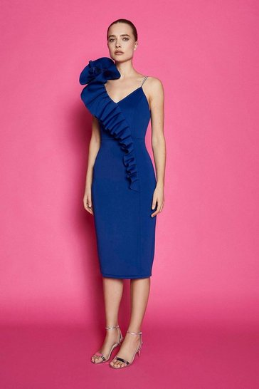 Cobalt Diamante Strap Ruffle Scuba Dress
