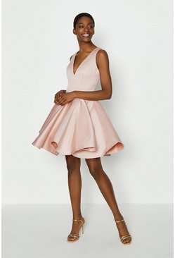 Blush V Neck Satin Short Dress