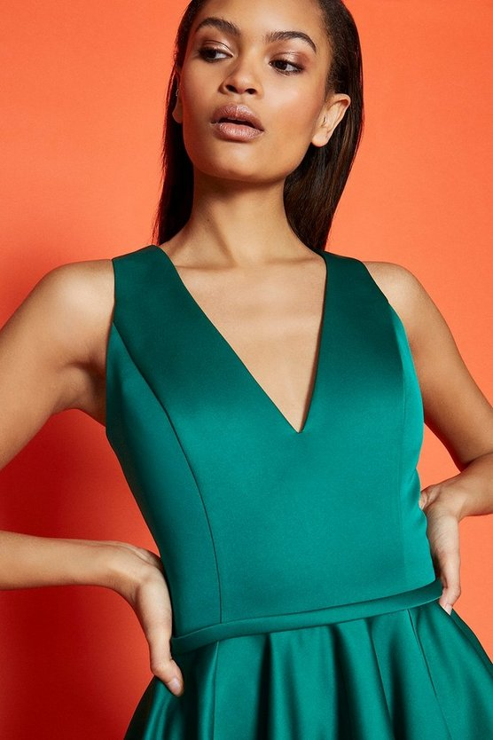 Green V Neck Satin Short Dress